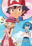 1boy 4girls ? blonde_hair blue_hair bright_pupils gazing_eye green_hair hands_together highres lillie_(pokemon) mao_(pokemon) multiple_girls pokemon pokemon_(anime) pokemon_sm_(anime) pokemon_xy_(anime) satoshi_(pokemon) serena_(pokemon) short_hair suiren_(pokemon) swimsuit thought_bubble twintails