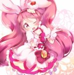 1girl ;d animal_ears bangs blush bow brooch choker clenched_hand commentary_request cupcake cure_whip dress extra_ears food food_themed_hair_ornament fruit gloves hair_ornament hairband jewelry kirakira_precure_a_la_mode kofa_(ikyurima) long_hair looking_at_viewer magical_girl one_eye_closed open_mouth pink_gloves pink_hair pom_pom_(clothes) pom_pom_earrings precure puffy_short_sleeves puffy_sleeves rabbit_ears short_sleeves smile solo strawberry twintails usami_ichika