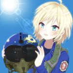 1girl blonde_hair helmet original oxygen_mask pilot pilot_suit solo tmg4104