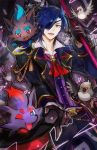 1boy bird black_gloves black_hair cane card cravat curtains eyepatch fang fox gloves hat hat_removed headwear_removed kantarou_(8kan) male_focus open_mouth pidove playing_card pokemon pokemon_(creature) shokudaikiri_mitsutada smile top_hat touken_ranbu yellow_eyes zorua