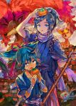 2boys black_hair blue_eyes blue_hair brick_wall broom deerling food fruit japanese_clothes kantarou_(8kan) male_focus mole mole_under_eye multiple_boys nidoran open_mouth persimmon pokemon pokemon_(creature) ponytail sawsbuck sayo_samonji scarf touken_ranbu yamato-no-kami_yasusada