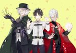 3boys black_hair cape cross cross_necklace dark_skin edmond_dantes_(fate/grand_order) fate/apocrypha fate/grand_order fate_(series) fedora fujimaru_ritsuka_(male) hat highres jewelry kotomine_shirou long_hair looking_at_viewer male_focus multiple_boys necklace short_hair smile stole wavy_hair white_hair yellow_eyes