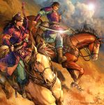 2boys armor belt boots bow_(weapon) brown_hair clouds hakurei_(kingdom) horse kingdom kouyoku_(kingdom) long_hair multiple_boys riding smirk sword weapon yona_(edenkasuga)