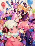 2boys ^_^ akita_toushirou ampharos balloon black_legwear blonde_hair blue_eyes closed_eyes confetti dress flaaffy hat hat_removed headwear_removed kantarou_(8kan) male_focus mareep midare_toushirou multiple_boys necktie open_mouth pink_hair pokemon pokemon_(creature) sheep smile thigh-highs touken_ranbu trap