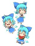 >:) >:d 1girl :d ahoge barefoot bloomers blue_bow blue_dress blue_hair blush_stickers bow bowtie chamaji chibi cirno commentary_request crossed_arms dress eating food fruit hair_between_eyes hair_bow highres ice ice_wings multiple_views neck_ribbon open_mouth outstretched_arms red_bow red_bowtie red_ribbon ribbon short_hair short_sleeves simple_background smile solo spread_arms touhou underwear watermelon white_background white_bloomers wings