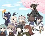 >_< 6+girls :3 ahoge amatsukaze_(kantai_collection) anchor animal animal_on_head backpack bag bespectacled binoculars bird bird_on_head black_hair blonde_hair blush_stickers brown_hair closed_eyes elbow_gloves error_musume flag girl_holding_a_cat_(kantai_collection) glasses gloves green_hair hair_ornament hair_ribbon hair_tubes hairband hairclip hand_holding hands_on_hips hat headgear high_heels hiyoko_(kantai_collection) kantai_collection kitakami_(kantai_collection) kumano_(kantai_collection) kurono_nekomaru majokko_(kantai_collection) midori_(kantai_collection) minigirl multiple_girls nagato_(kantai_collection) nose_bubble on_head ooi_(kantai_collection) ponytail purple_hair randoseru rashinban_musume resized ribbon shimakaze_(kantai_collection) silver_hair sleeping striped striped_legwear suzuya_(kantai_collection) sweatdrop tenryuu_(kantai_collection) thigh-highs tokitsukaze_(kantai_collection) triangle_mouth twintails wavy_mouth witch_hat younger yukikaze_(kantai_collection)