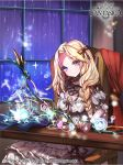 1girl artist_name bird blonde_hair bow bow_(weapon) braid chair company_name copyright_name full_body gem gyakushuu_no_fantasica kanola_u long_hair official_art rain sitting solo sparkle violet_eyes weapon window