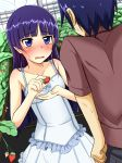 1boy 1girl bangs bare_shoulders black_hair blue_eyes blunt_bangs blurry blush cla_(torinabe) clenched_hand collarbone cupping_hand depth_of_field dress dutch_angle embarrassed eyebrows_visible_through_hair food fruit gokou_ruri highres holding holding_food kousaka_kyousuke long_hair looking_at_another maroon_shirt mole mole_under_eye motion_lines nose_blush ore_no_imouto_ga_konna_ni_kawaii_wake_ga_nai parted_lips plant purple_hair revision short_sleeves spaghetti_strap strawberry sweatdrop wavy_mouth
