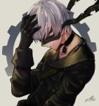 1boy android blindfold blue_eyes buttons choker collarbone eyelashes gears gloves hand_on_head male_focus nier_(series) nier_automata pale_skin signature simple_background solo strap upper_body white_hair yorha_no._9_type_s