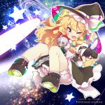 1boy 1girl absurdres ahoge blonde_hair bloomers blue_eyes blush character_name dress english fang hat headset highres kirisame_marisa long_hair miniboy morichika_rinnosuke open_mouth rotte_(1109) smile touhou underwear witch_hat