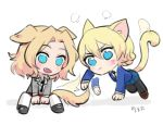 2girls all_fours angry animal_ears arm_support black_necktie blazer blonde_hair blue_eyes blue_skirt blue_sweater braid cat_ears cat_tail chibi darjeeling dog_ears dog_tail dress_shirt fang fume girls_und_panzer grey_jacket jacket kay_(girls_und_panzer) kemonomimi_mode long_hair miniskirt multiple_girls necktie pleated_skirt red_skirt saunders_school_uniform shirt short_hair sitting sketch skirt soramame_(corndog) st._gloriana's_school_uniform sweater tail tail_wagging tied_hair twin_braids whisker_markings white_shirt