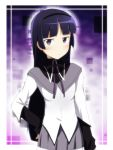 1girl akemi_homura akemi_homura_(cosplay) black_hair blush cosplay gokou_ruri hairband ikari_manatsu long_hair mahou_shoujo_madoka_magica mole mole_under_eye ore_no_imouto_ga_konna_ni_kawaii_wake_ga_nai revision skirt solo violet_eyes