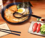chopsticks commentary_request cup drinking_glass egg food highres indoors korean nigirizushi no_humans noodles nori_(seaweed) original ramen randle soy_sauce spoon steam sushi text translation_request wasabi water