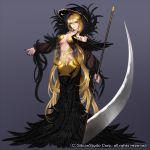 1girl airspace blonde_hair center_opening company_name feathers full_body grey_background gyakushuu_no_fantasica hood jewelry long_hair midriff nail_polish navel necklace official_art scythe solo tattoo yellow_eyes