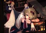1girl alice_margatroid blanket blonde_hair blue_skirt book bookshelf bow capelet expressionless hair_bow hairband highres homo_1121 indoors lantern pocket_watch puffy_short_sleeves puffy_sleeves red_bow shanghai_doll short_sleeves sitting skirt solo touhou watch wrist_cuffs