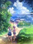 2girls aalge architecture brown_hair camisole clouds day dirt_road east_asian_architecture flower food grass ice_cream long_hair multiple_girls original revision rural sandals scenery shoes short_hair shorts skirt sky spider_lily summer twintails