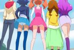 5girls arisugawa_himari blue_hair blue_legwear blue_panties brown_hair from_behind green_skirt hand_in_pocket hand_on_hip haruyama_kazunori kenjou_akira kirakira_precure_a_la_mode kotozume_yukari long_hair multiple_girls orange_hair panties pantyshot pantyshot_(standing) precure purple_hair purple_skirt redhead short_hair skirt socks standing tategami_aoi thigh-highs twintails underwear usami_ichika