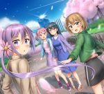 4girls :d akebono_(kantai_collection) alternate_costume bandaid bandaid_on_face black_hair black_skirt blue_dress blue_jacket blush brown_eyes brown_hair brown_jacket brown_shoes building cherry_blossoms dress flower green_jacket hair_flower hair_ornament highres jacket kantai_collection long_hair long_sleeves multiple_girls nedia_r oboro_(kantai_collection) open_mouth petals pink_eyes pink_hair pink_shoes ponytail purple_hair purple_jacket purple_skirt sazanami_(kantai_collection) shoes short_hair skirt smile twintails ushio_(kantai_collection) very_long_hair violet_eyes