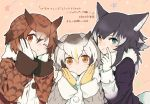 >:> 3girls :> :| ;| animal_ears black_hair blonde_hair blue_eyes blush brown_coat brown_eyes brown_hair buttons closed_mouth coat collar commentary_request dot_nose eurasian_eagle_owl_(kemono_friends) expressionless eyebrows_visible_through_hair eyelashes finger_to_cheek fur_collar girl_sandwich gloves gradient_hair grey_coat grey_hair grey_wolf_(kemono_friends) hand_up hands_on_own_cheeks hands_on_own_face hands_up head_wings heterochromia index_finger_raised jacket kemono_friends large_buttons light_brown_eyes long_sleeves multicolored multicolored_clothes multicolored_coat multicolored_hair multiple_girls northern_white-faced_owl_(kemono_friends) one_eye_closed outline pink_background sandwiched short_hair simple_background smile star starry_background tail tareme tenhana39 translation_request tsurime two-tone_hair upper_body wavy_hair white_coat white_gloves white_hair white_outline wings wolf_ears wolf_tail yellow_eyes yellow_gloves
