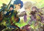 2boys 2girls bangs blue_eyes blue_hair book cape castle celice_(fire_emblem) character_request company_connection copyright_name diadora_(fire_emblem) dress fire_emblem fire_emblem:_seisen_no_keifu fire_emblem_cipher gloves hand_holding holding holding_weapon horse jewelry long_hair multiple_boys multiple_girls short_hair sigurd_(fire_emblem) suzuki_rika sword unicorn violet_eyes weapon white_hair
