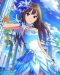 1girl architecture blue_dress brown_hair clouds cloudy_sky collarbone dress eyebrows_visible_through_hair feathers flower gloves green_eyes hair_ornament idolmaster idolmaster_cinderella_girls ivy_(plant) long_hair looking_at_viewer official_art shibuya_rin sky solo