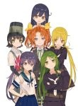 6+girls akebono_(kantai_collection) arare_(kantai_collection) bell black_hair blonde_hair blue_hair brown_eyes colorful flower green_eyes green_hair hair_bell hair_flower hair_ornament hair_ribbon hand_on_hip hand_on_shoulder hat highres jingle_bell kagerou_(kantai_collection) kantai_collection long_hair long_sleeves multiple_girls nagatsuki_(kantai_collection) official_art open_mouth orange_hair purple_hair ribbon satsuki_(kantai_collection) school_uniform serafuku short_hair short_sleeves side_ponytail smile takekono twintails ushio_(kantai_collection) violet_eyes yellow_eyes