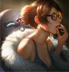 1girl bare_shoulders beads black-framed_eyewear breasts brown_eyes brown_hair cleavage coat collarbone eyeliner fingernails from_side fur-trimmed_jacket fur_coat fur_trim glasses hair_bun hair_ornament hair_stick hand_to_own_mouth hand_up jacket large_breasts lipstick long_fingernails makeup mei_(overwatch) nose off_shoulder open_clothes open_coat open_mouth overwatch parka pink_lips pink_lipstick realistic revision robot saliva saliva_trail short_hair sidelocks snowball_(overwatch) snowflake_hair_ornament solo tank_top teeth tongue tongue_out upper_body wang_chen winter_clothes winter_coat