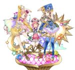 3girls atelier_(series) atelier_meruru atelier_rorona atelier_totori blue_eyes boots breasts brown_eyes brown_hair cleavage crown dress hair_ornament hat highres long_hair long_legs medium_breasts merurulince_rede_arls mizukiyan multiple_girls open_mouth pink_hair puni_(atelier) rororina_fryxell small_breasts smile thigh-highs thigh_boots totooria_helmold younger