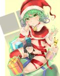 1girl bell bell_collar character_doll character_request collar curly_hair doll gift green_eyes green_hair hand_on_own_face hat highres looking_at_viewer one-punch_man pingqiong_xiansheng red_legwear red_ribbon ribbon saitama_(one-punch_man) santa_hat short_hair tatsumaki thigh-highs