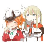 2girls =_= aquila_(kantai_collection) blonde_hair blue_eyes graf_zeppelin_(kantai_collection) hair_ornament hairclip hat high_ponytail kantai_collection lowres multiple_girls no_nose open_mouth orange_hair peaked_cap rebecca_(keinelove) sidelocks translation_request twintails upper_body