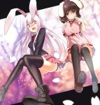2girls :3 animal_ears bangs black_hair black_legwear black_panties black_shoes blazer bunny_tail carrot_necklace cross-laced_footwear dress highres inaba_tewi jacket koissa long_hair long_sleeves multiple_girls necktie open_mouth panties pantyshot pantyshot_(sitting) pink_dress pink_hair pink_skirt puffy_short_sleeves puffy_sleeves rabbit_ears red_eyes red_necktie reisen_udongein_inaba shiny shiny_hair shoes short_dress short_hair short_sleeves sitting skirt smile tail thigh-highs touhou underwear very_long_hair wavy_mouth wing_collar