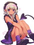 1girl 2016 a_k_o braid dark_skin dated demon_tail dress eyebrows eyebrows_visible_through_hair hairband highres knees_together_feet_apart looking_at_viewer original purple_dress purple_legwear revision shoes silver_hair simple_background sitting socks solo tail tan twitter_username violet_eyes white_background