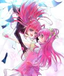 2girls :d aki_(na_uup) black_gloves blush bow crying crying_with_eyes_open cure_dream dark_cure_(yes!_precure_5) dark_dream earrings elbow_gloves eye_contact fingerless_gloves flower gloves hair_flower hair_ornament hair_rings jewelry long_hair looking_at_another magical_girl multiple_girls open_mouth pink_bow pink_hair precure smile tears violet_eyes white_gloves yes!_precure_5 yes!_precure_5_gogo! yumehara_nozomi