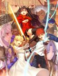 4girls 6+boys ahoge archer artist_name assassin_(fate/stay_night) berserker black_hair black_legwear black_pants black_ribbon black_skirt blonde_hair blue_eyes breasts brown_eyes caster cleavage clenched_teeth copyright_name dark_skin dress elbow_gloves emiya_shirou excalibur eyebrows_visible_through_hair fate/stay_night fate/unlimited_blade_works fate_(series) gilgamesh gloves green_eyes hair_ribbon high_ponytail highres holding holding_sword holding_weapon illyasviel_von_einzbern jacket japanese_clothes kimono lancer long_hair looking_at_viewer medium_breasts multiple_boys multiple_girls official_art open_mouth orange_hair outstretched_arm pants parted_lips pleated_skirt purple_hair purple_ribbon red_eyes red_jacket red_scarf ribbon rider saber scarf shirt sideboob silver_hair skirt sleeveless sleeveless_dress spiky_hair strapless strapless_dress sword takeuchi_takashi teeth thigh-highs tohsaka_rin two_side_up weapon wedding_dress white_dress white_gloves white_shirt zettai_ryouiki