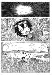 backpack bag bucket_hat bush clouds comic explosion gloves grass greyscale hat hat_feather hat_removed headwear_removed highres kaban kemono_friends lying monochrome mountain on_back on_ground open_mouth outstretched_arms pantyhose_under_shorts rock shino_(ponjiyuusu) shirt short_hair short_sleeves shorts sitting sky solo spread_arms t-shirt translation_request tree wide-eyed