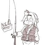 1girl alternate_costume braid closed_eyes commentary fish fish_hair_ornament fishing_rod french_braid hair_between_eyes hair_ornament hairband kantai_collection long_hair long_sleeves monochrome simple_background smile solo takatsuki_nato vest warspite_(kantai_collection) white_background