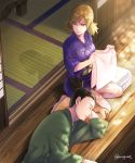 1boy 1girl blonde_hair facial_hair goatee green_eyes hatomugi_(htmg_nrt) husband_and_wife japanese_clothes lap_pillow low_twintails nara_shikamaru naruto shadow sleeping sleeping_on_person smile temari twintails