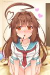 1girl ahoge blush breasts brown_eyes brown_hair collarbone commentary_request door eyebrows eyebrows_visible_through_hair food hair_intakes heart heart_ahoge heart_pillow highres incoming_pocky_kiss indoors kantai_collection kneeling kuma_(kantai_collection) long_hair looking_at_viewer on_bed pillow pocky revision short_sleeves solo twitter_username yukina_(black0312)