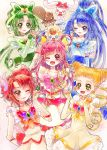 5girls ;d aki_(na_uup) akimoto_komachi blonde_hair blue_bow blue_eyes blue_hair blush bow brooch brown_eyes butterfly_hair_ornament closed_mouth coco_(yes!_precure_5) creature cure_aqua cure_dream cure_lemonade cure_mint cure_rouge double_bun dress drill_hair earrings elbow_gloves fingerless_gloves frills gloves green_bow green_eyes green_hair hair_bow hair_ornament hair_rings hands_together highres jewelry kasugano_urara_(yes!_precure_5) lips long_hair looking_at_viewer milk_(yes!_precure_5) minazuki_karen multiple_girls natsuki_rin nuts_(yes!_precure_5) one_eye_closed open_mouth pink_bow pink_hair ponytail precure red_eyes redhead short_hair smile squirrel twin_drills white_dress white_gloves yellow_bow yellow_choker yellow_eyes yes!_precure_5 yumehara_nozomi