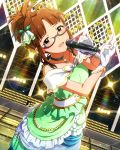 akizuki_ritsuko brown_hair dress glasses gloves green_dress idolmaster idolmaster_million_live! jewelry looking_at_viewer microphone necklace official_art sleeveless stage white_gloves