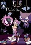 1boy 1girl acerola_(pokemon) armlet blonde_hair book chandelier dress elite_four gastly gym_leader hair_ornament half_updo haunter headband highres lampent litwick long_sleeves matsuba_(pokemon) mimikyu multicolored multicolored_clothes multicolored_dress nagatsukiariake one_eye_closed open_book open_mouth pants pokemon pokemon_(creature) pokemon_(game) pokemon_hgss pokemon_sm purple_hair purple_scarf sableye sandals scarf short_hair sitting trial_captain white_pants
