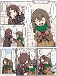 ... 2girls bag blush bow box brown_hair closed_eyes coat comic english flying_sweatdrops gift gift_box gloves green_scarf grey_gloves heart long_hair m_k multiple_girls original pink_bow pink_ribbon ribbon scarf short_hair smile spoken_ellipsis striped striped_gloves sweat to_be_continued translation_request yuri