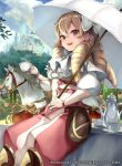 1girl bow capelet castle company_connection copyright_name cup drill_hair earrings fire_emblem fire_emblem:_kakusei fire_emblem_cipher hair_bow holding horse jewelry long_hair looking_at_viewer mariabel_(fire_emblem) official_art open_mouth outdoors pants parasol smile solo teacup teapot thigh-highs umbrella