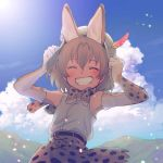 1girl adjusting_clothes adjusting_hat animal_ears armpits bare_shoulders belt blush bow bowtie cat_ears closed_eyes clouds cloudy_sky cross-laced_clothes day elbow_gloves eyebrows_visible_through_hair eyelashes facing_viewer fang flat_chest gloves grin hair_between_eyes hands_up hat hat_feather kemono_friends kyouno mountain orange_hair outdoors sandstar serval_(kemono_friends) serval_ears serval_print shirt short_hair skirt sky sleeveless sleeveless_shirt smile solo teeth upper_body white_hat white_shirt