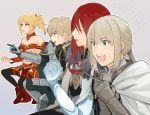 1girl 3boys aki_(neyuki41028) armor bedivere blonde_hair blue_eyes breastplate closed_eyes fate/apocrypha fate/extra fate/grand_order fate/stay_night fate_(series) gaijin_4koma gawain_(fate/extra) green_eyes knights_of_the_round_table_(fate) long_hair male_focus multiple_boys navel ponytail purple_hair redhead saber_of_red short_hair smile tristan_(fate/grand_order) white_hair