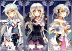 3girls :o athria bare_shoulders black_dress black_legwear blue_background bracelet character_name code:_battle_seraph_(elsword) code:_empress_(elsword) code:_nemesis_(elsword) collarbone column_lineup dress elsword eve_(elsword) flat_chest forehead_jewel jewelry kog korean leotard long_hair looking_at_viewer multiple_girls multiple_persona short_hair thigh-highs white_hair white_legwear white_leotard yellow_choker yellow_eyes