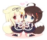 2girls :d ahoge black_serafuku blonde_hair blue_eyes blush braid brown_hair chibi commentary_request dog_tail hair_flaps hair_ornament hair_ribbon hairclip hand_holding heart kantai_collection long_hair multiple_girls neckerchief open_mouth red_eyes remodel_(kantai_collection) ribbon scarf school_uniform serafuku shigure_(kantai_collection) smile tail watanohara white_background yuudachi_(kantai_collection)