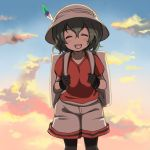 1girl ^_^ backpack bag black_gloves black_hair black_legwear blue_sky blush_stickers bucket_hat closed_eyes clouds cloudy_sky collarbone evening eyebrows_visible_through_hair facing_viewer gloves gradient_sky hair_between_eyes hat hat_feather kaban kawanobe kemono_friends multicolored multicolored_sky open_mouth orange_sky outdoors pantyhose red_shirt shirt short_hair short_sleeves shorts sky smile solo wavy_hair white_hat white_shorts |d