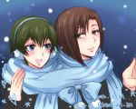 2girls :d aoyanagi_risa blue_eyes blush brown_hair dated earmuffs green_hair highres kiraki lips mole mole_under_eye multiple_girls open_mouth psycho-pass scarf shisui_mizue smile snowing twitter_username yuri