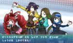 4girls :q antenna_hair black_gloves black_hair black_lipstick blonde_hair blue_eyes blue_hair blush_stickers boots bow brown_hair claw_(weapon) commentary_request doll_joints dress drill_hair eyeshadow garie_tuman gloves green_eyes green_hair hair_bow hair_over_one_eye hairband hand_on_hip high_heel_boots high_heels highres kiraki leiur_darahim lipstick long_hair long_sleeves looking_at_viewer makeup micha_jawkan multicolored_hair multiple_girls pale_skin phara_suyuf poke_ball pokemon puffy_sleeves red_shoes redhead senki_zesshou_symphogear sharp_teeth shoes short_hair shorts simple_background smile teeth tongue tongue_out translation_request twin_drills two-tone_hair weapon white_background yellow_eyes